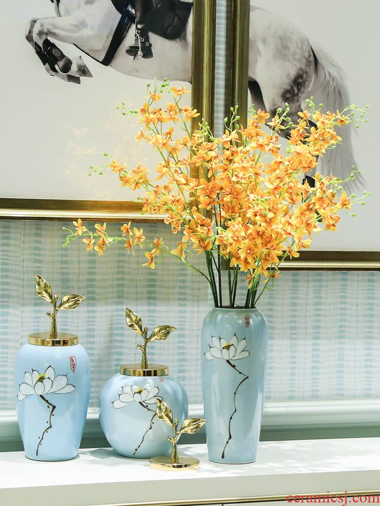 Mesa of I and contracted fashion decorative vase of new Chinese style ceramic flower TV ark place flower implement table decoration