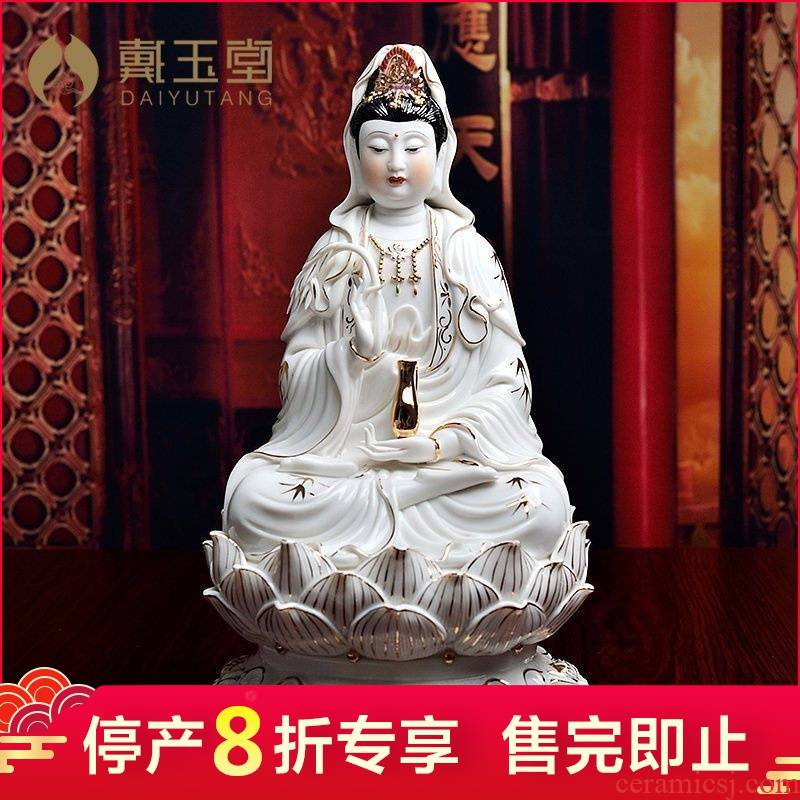 The porcelain dehua ceramic production is pulled from The shelves 】 【 12 inch gold lotus guanyin