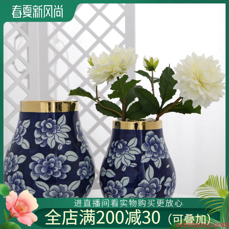 Jingdezhen ceramic mesa furnishing articles sitting room, dining - room table decoration vase simulation false hydroponic flower decoration