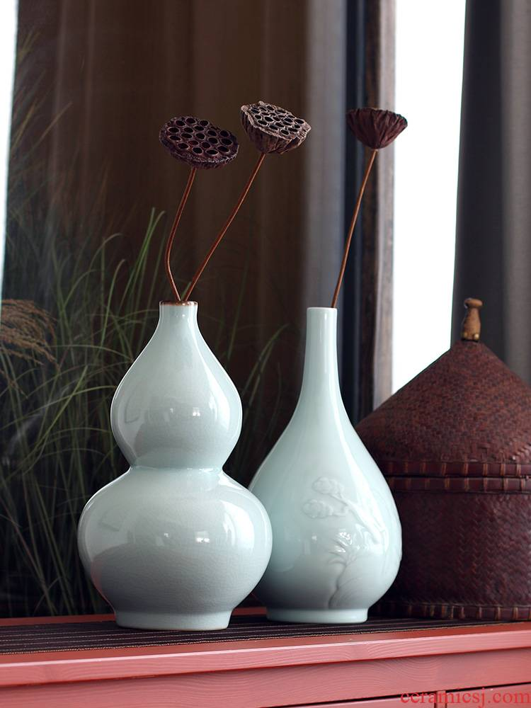Longquan celadon vase gourd bottle flask ceramic vase vases, flower vases, the clear soup WoGuo for Buddha