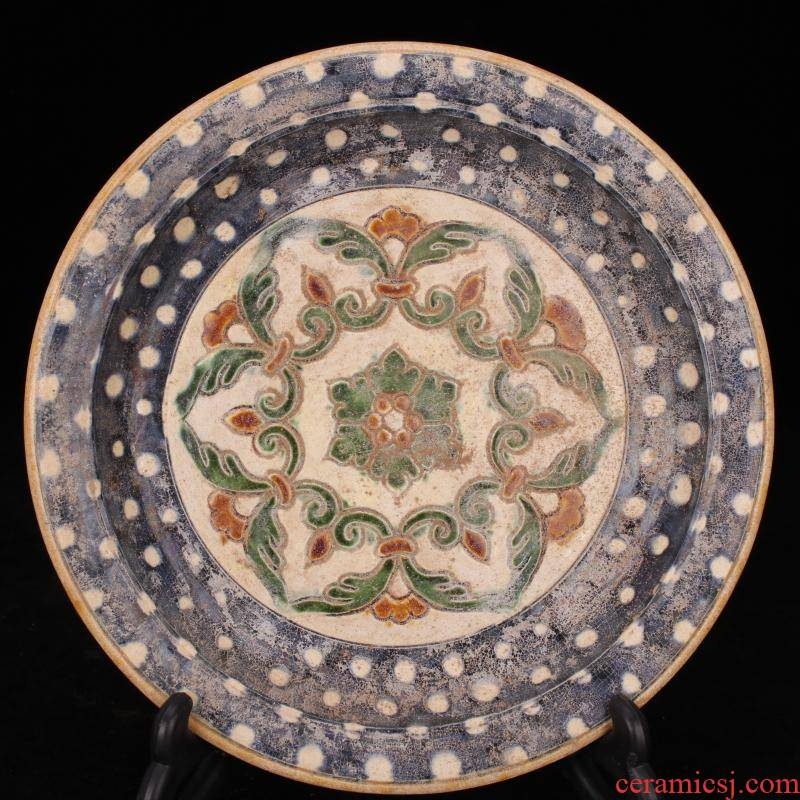 Archaize of jingdezhen porcelain tang sancai plate simulation unearthed relics old antique folk collection furnishing articles