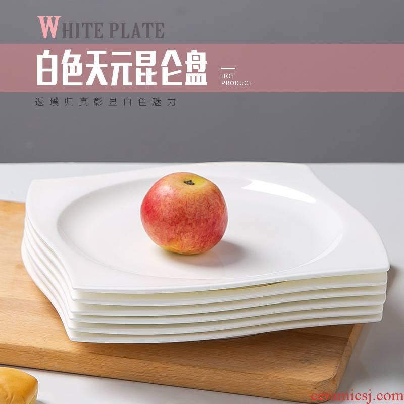 White dish European square steak dinner plate household dish plate of pasta dish 8 inches special - shaped ipads plate