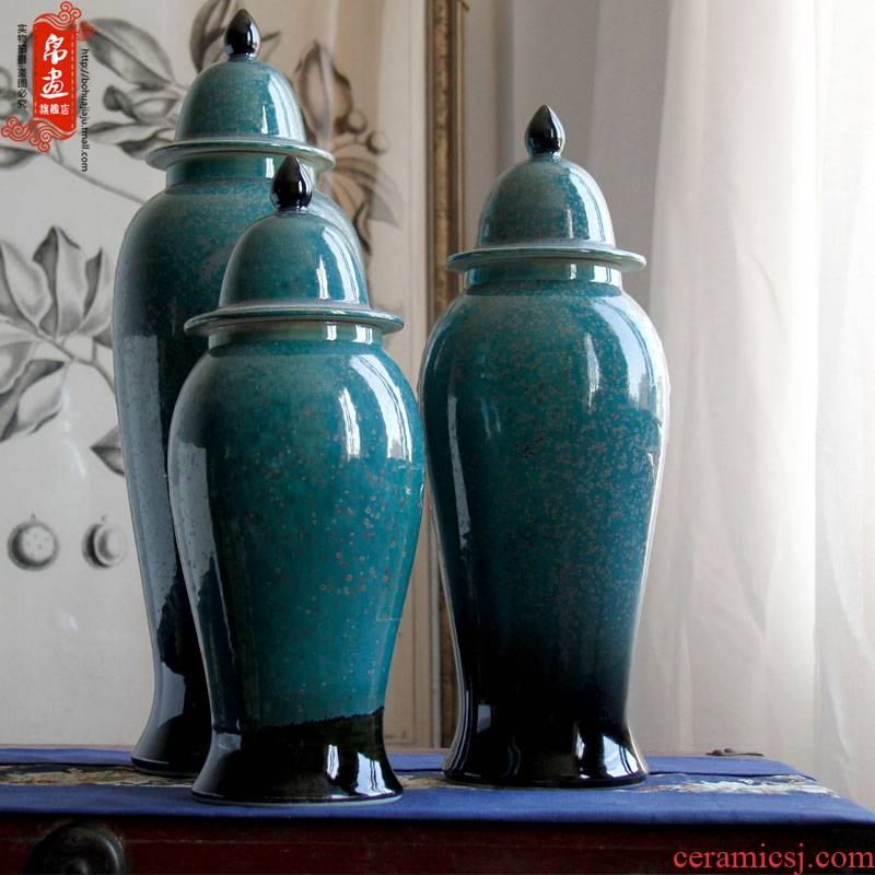 Jingdezhen ceramics vase furnishing articles up caddy fixings retro flower arrangement to receive sitting room adornment desktop with cover