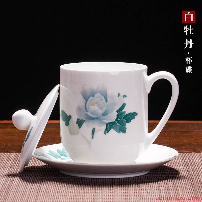 Liling porcelain pure hand draw Chinese ceramic tea cup office meeting individual cup with cover can be customized LOGO