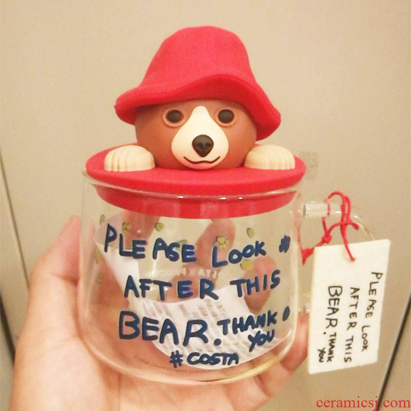 Paddington bear cup double mark cup with cover glass ceramic heat cold water cup spot