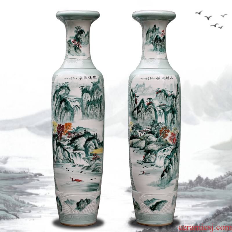 Jingdezhen ceramics vase of large sitting room porch hand - made pastel large crafts are the opened