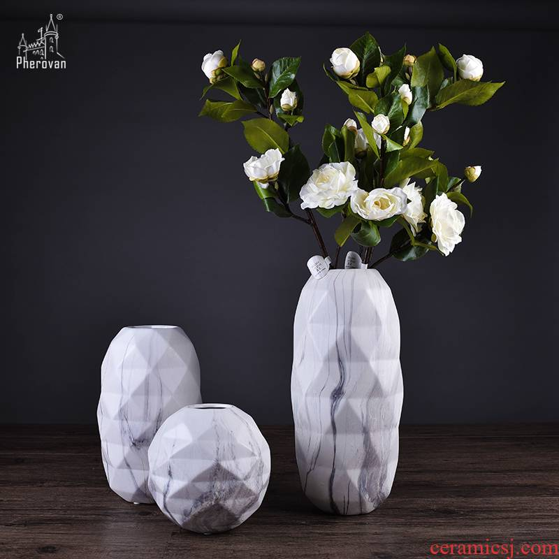 I and contracted marble ceramic vases, home furnishing articles sitting room dining - room soft outfit flower arranging flowers