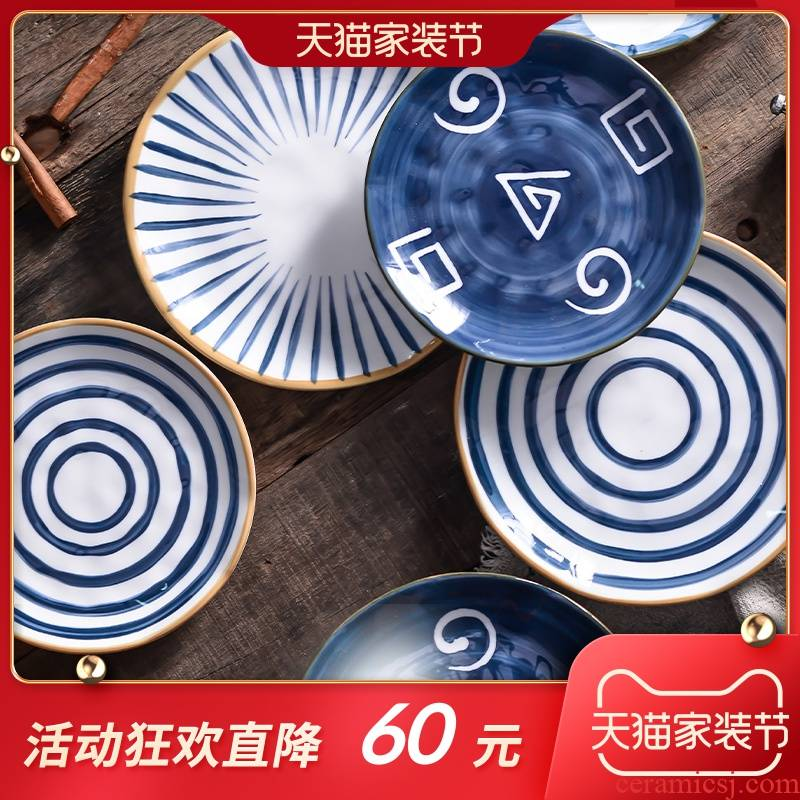 Japanese under the glaze color dishes suit household jingdezhen ceramic tableware suit creative hand - made bowl dish bowl chopsticks