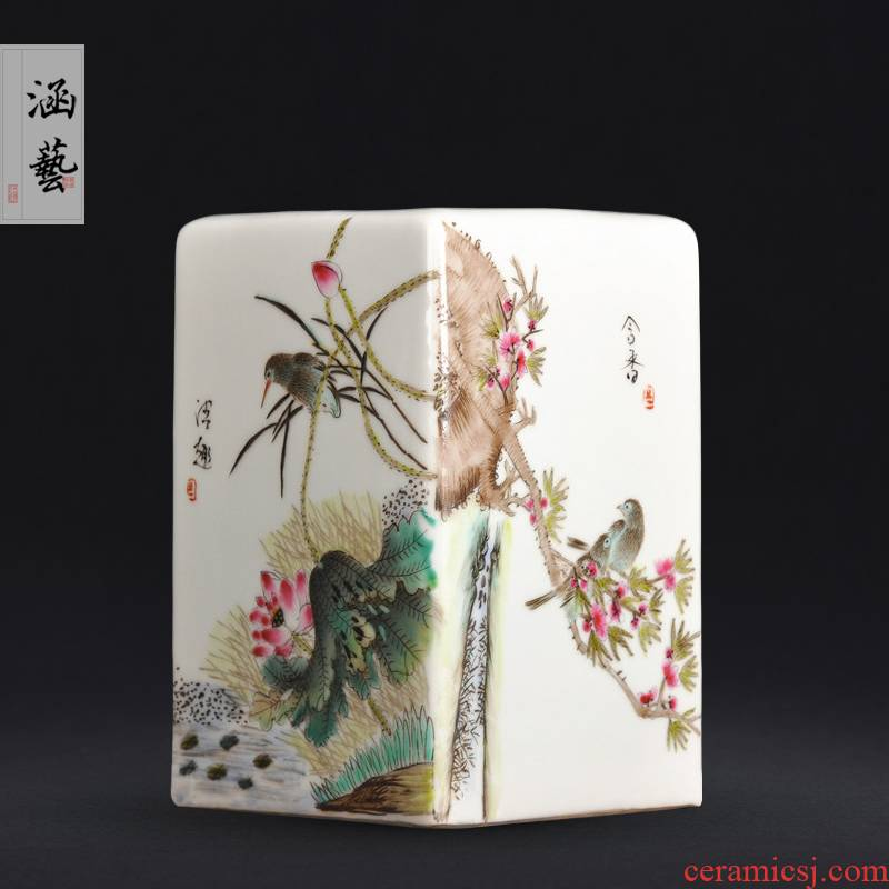 Jingdezhen ceramics hand - made clear interest contained sweet home furnishing articles collection square vase Chinese style classical process