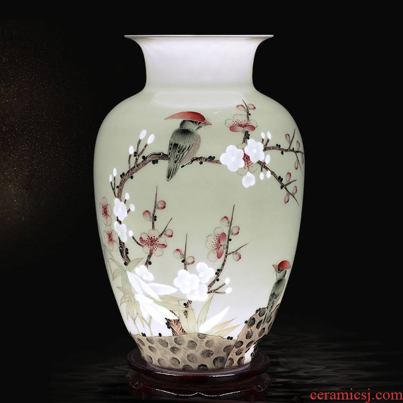 Creative thin foetus and exquisite porcelain jingdezhen ceramics vase furnishing articles sitting room flower arranging manual hand - made Chinese style decoration