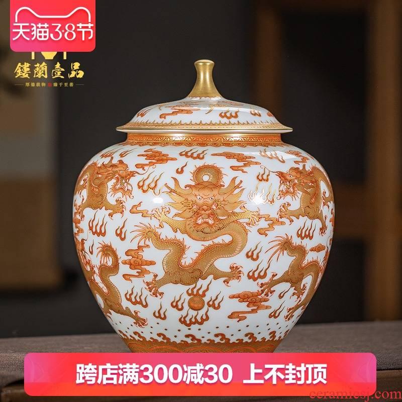 Jingdezhen ceramic all hand - made alum red see colour tea, Kowloon warehouse large tea pot seal pot of tea store to receive