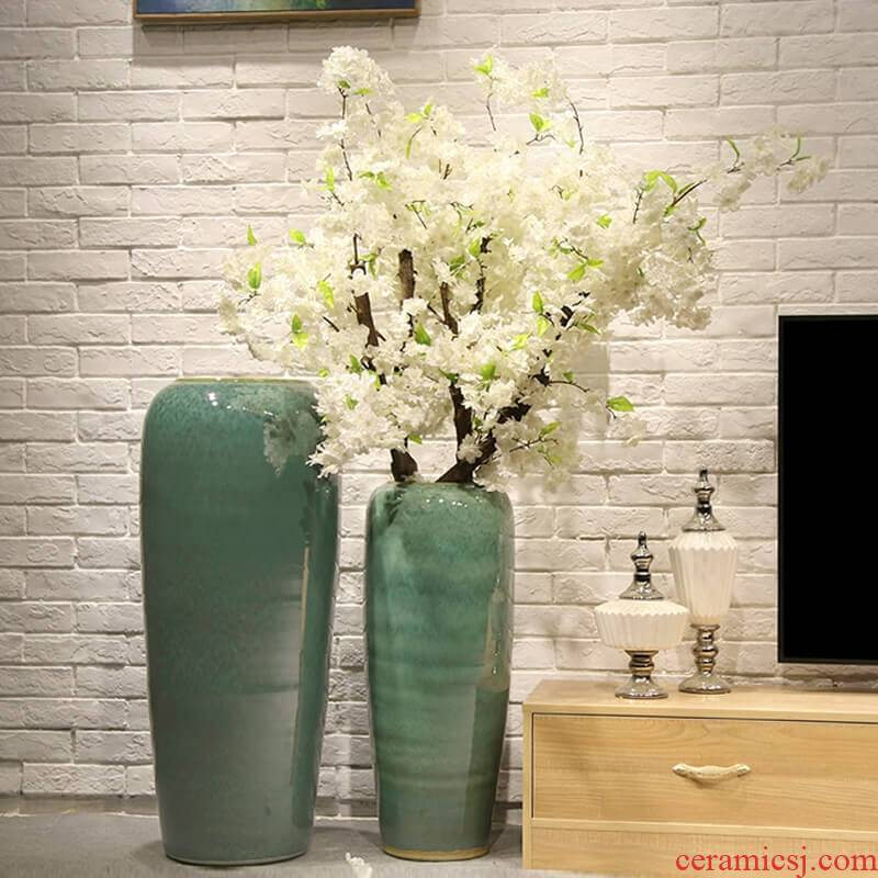New Chinese style villa hotel landing big simulation flower decoration ceramic vase furnishing articles sitting room between example receptacle