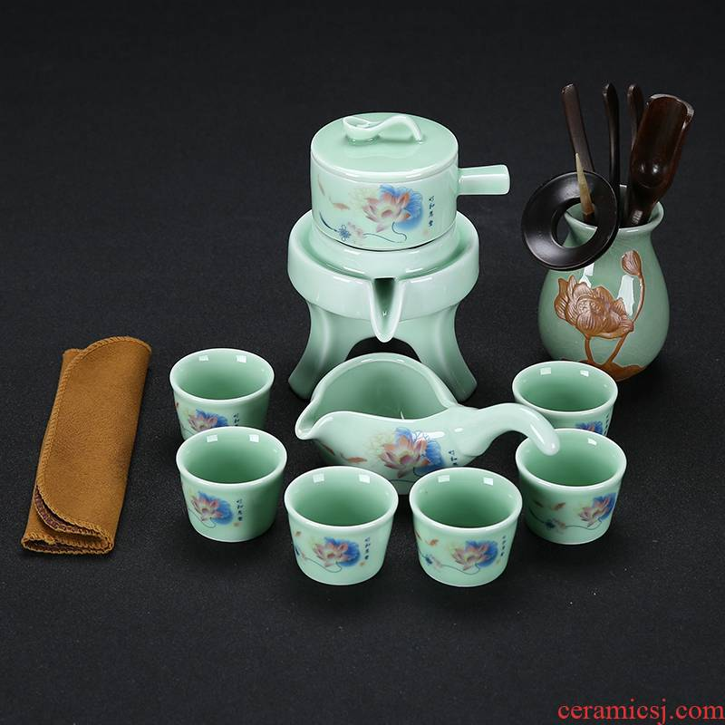 Celadon tea set home stone mill creative ceramic teapot kung fu tea cup half full automatic lazy