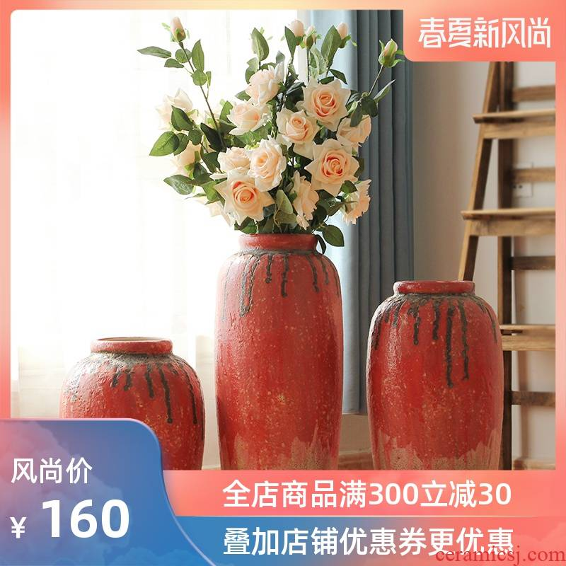Jingdezhen coarse some ceramic jar jar flower implement ground vase earthenware do old archaize southeast Asia example room decoration
