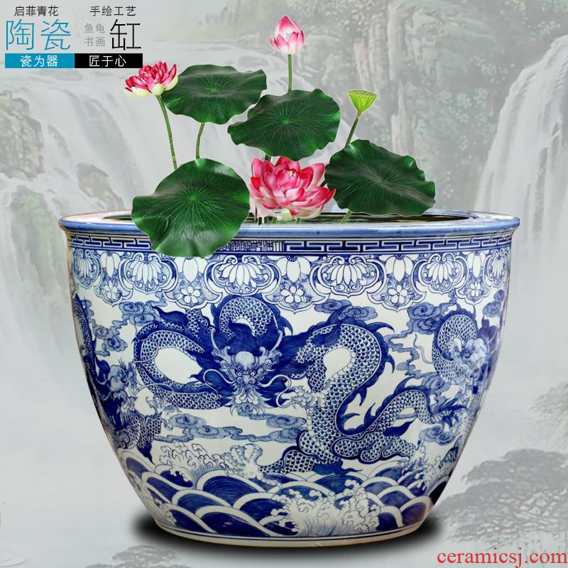 Jingdezhen blue and white porcelain aquarium hand - made dragon design ground ceramic furnishing articles sitting room adornment study opening gifts