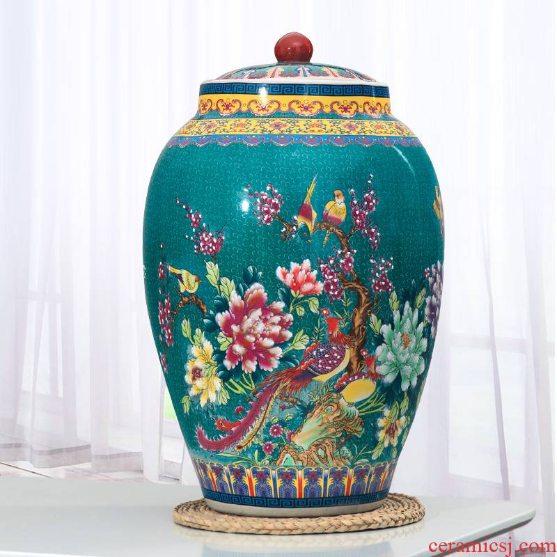 Jingdezhen ceramic barrel pack ricer box store 20 jins 30 jins of 50 kg household moistureproof insect - resistant rice jar with cover meter box