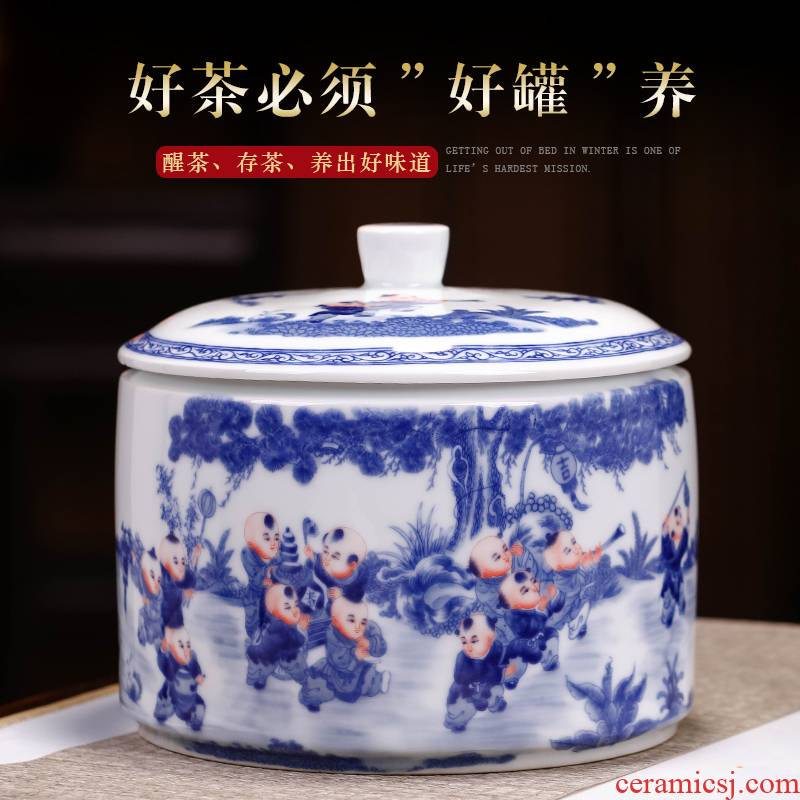 Jingdezhen blue and white porcelain tea pot of the ancient philosophers figure household with cover seal pot size 4 cake storage tank receives moistureproof