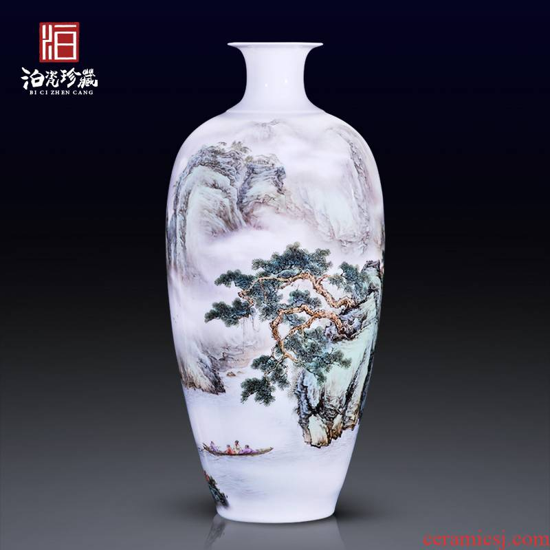 High - quality goods of jingdezhen ceramics hand - made heavy famille rose red cliff night cruise on the new Chinese style household adornment bottle vase furnishing articles
