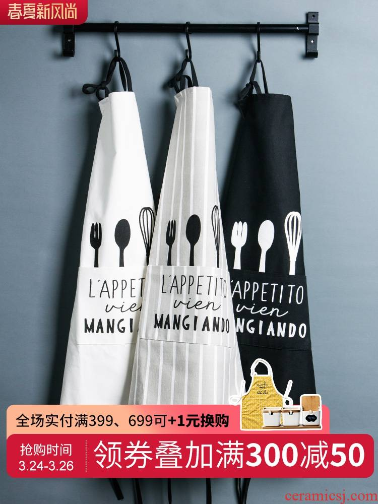 Porcelain color beauty of Japanese han edition fashion creative waterproof cloth art bust apron household kitchen cooking oil overall