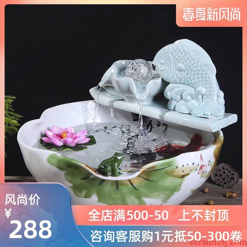 Package mail jingdezhen ceramic aquarium goldfish bowl lotus cylinder tortoise ceramic creative fish goldfish bowl aquarium