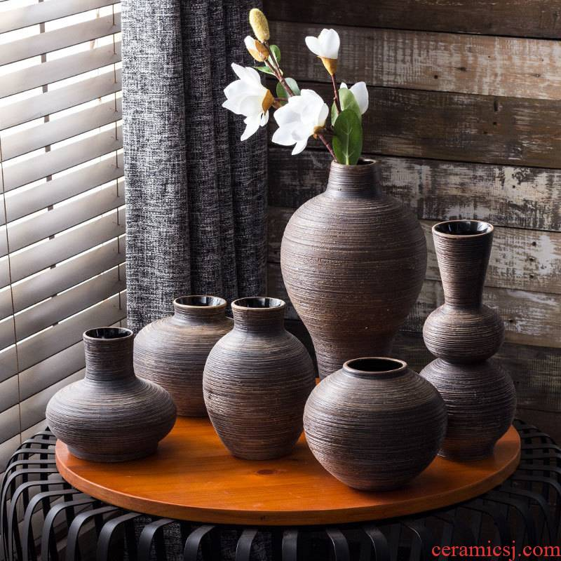 Jingdezhen checking ceramic vase retro contracted flowers, dried flowers in hydroponic flowers in the living room table of Chinese zen furnishing articles