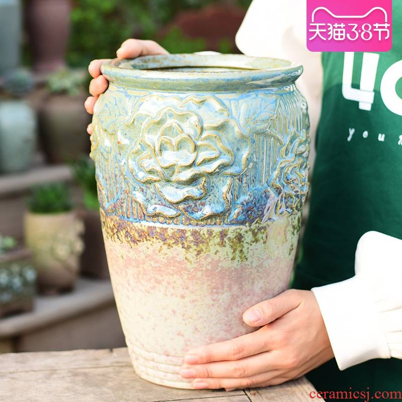 Extra large high basin mage old running more meat coarse pottery flowerpot ceramics creative cliff household green plant POTS to restore ancient ways