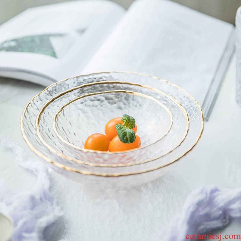 TaoDian creative transparent hammer eye grain glass plate of up phnom penh glass fruit bowl bowl of European style salad bowl western food bowl