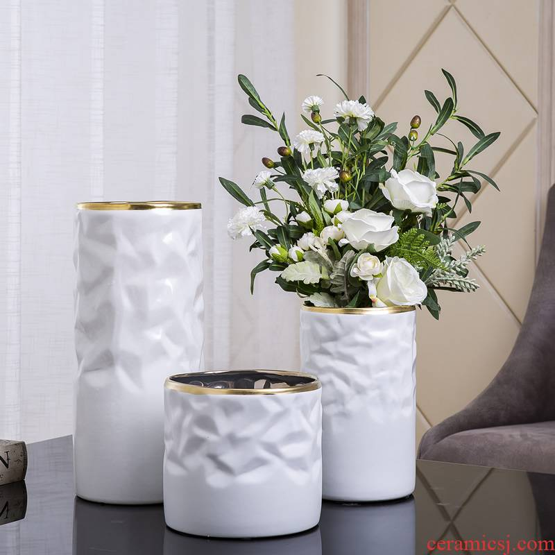 Nordic light and decoration ceramics of large diameter vase furnishing articles creative home sitting room new Chinese flower arranging dried flower adornment flowers
