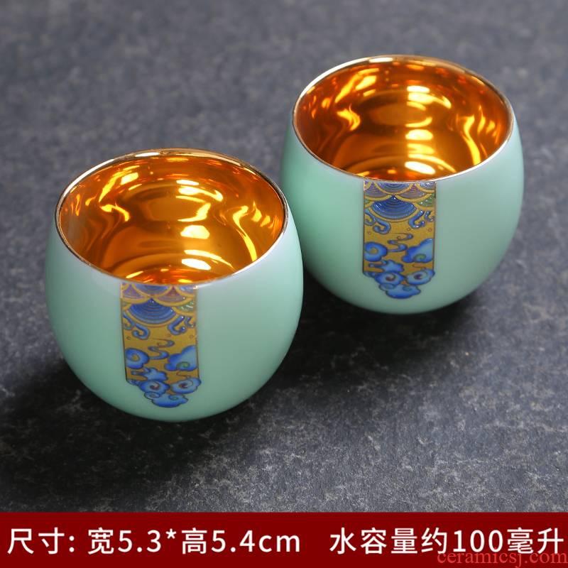 Longquan celadon tea set simple household kung fu tea set single cup sample tea cup tureen teapot is a complete set of tea cups