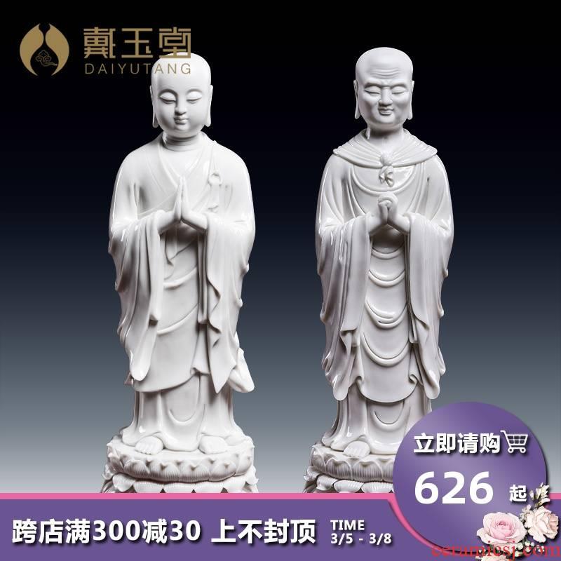 Yutang dai dehua white porcelain Buddha Buddha disciple two to kasyapa honour the person of Buddha worship that occupy the home furnishing articles
