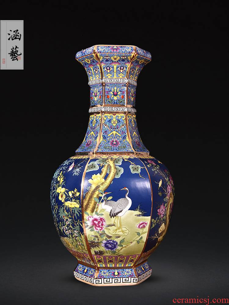 Qianlong vase enamel jingdezhen ceramics antique vase Chinese style classical sitting room adornment handicraft furnishing articles