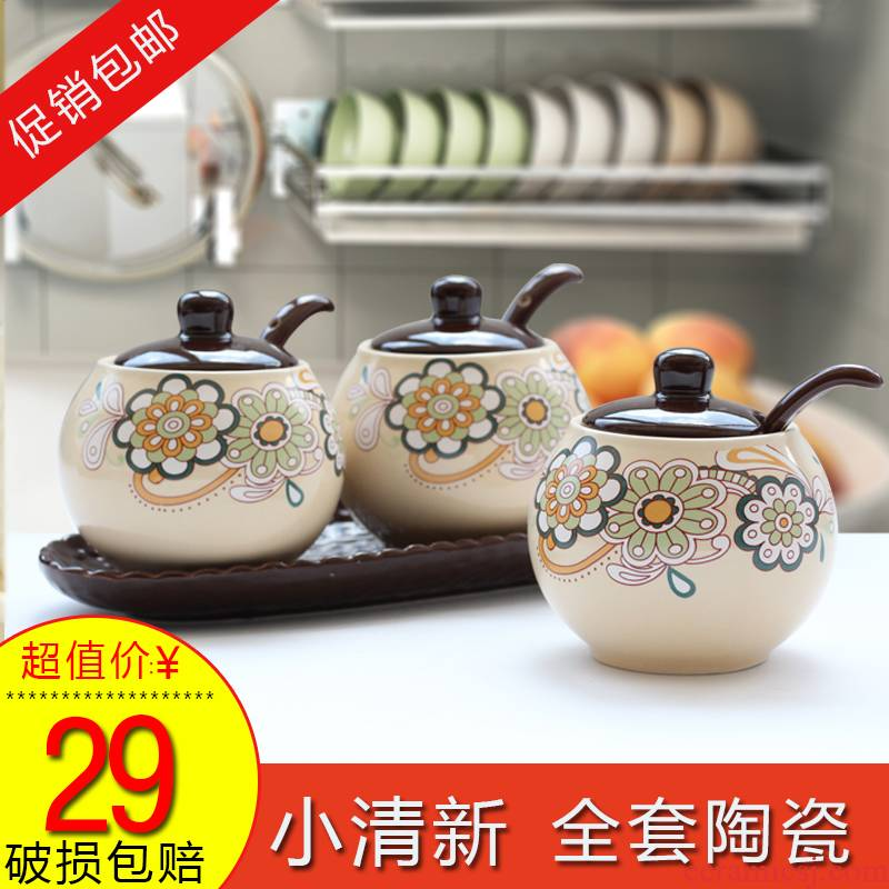 European flavor pot three suits for kitchen ceramic condiment container home receive a case mix seasoning box
