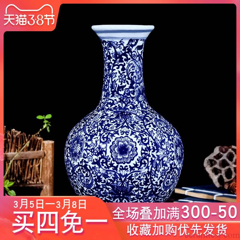 Vase furnishing articles of jingdezhen blue and white porcelain ceramic sitting room other Chinese style decoration flower arranging porcelain flowers, ancient porcelain