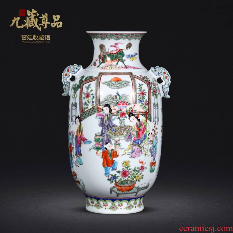 Archaize of jingdezhen ceramic hand - made pastel court had the sitting room of Chinese style of modern home decoration decoration process