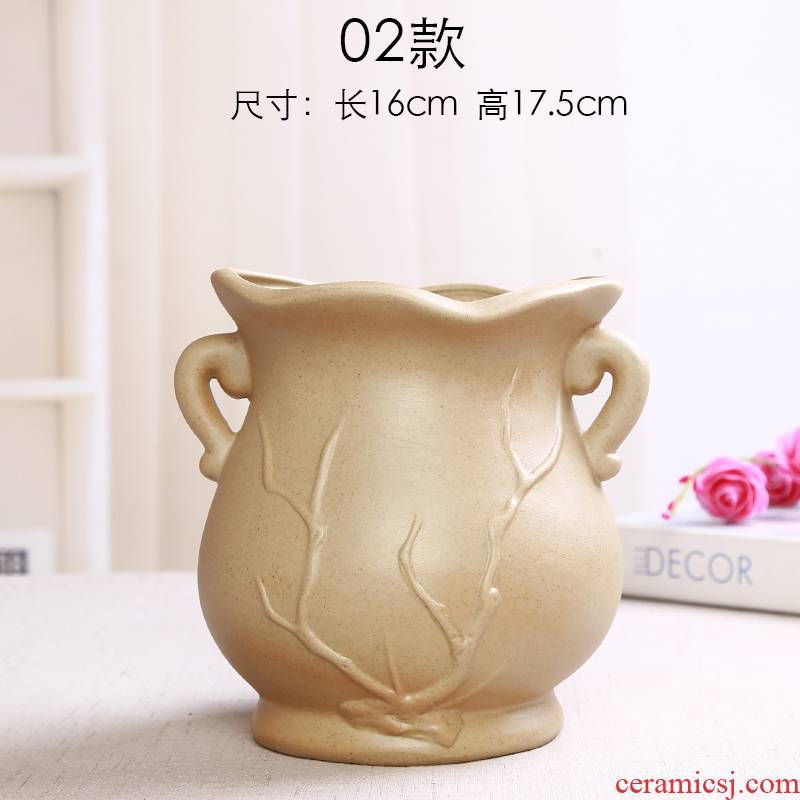 Coarse pottery air breathing fleshy ceramic flower POTS, large diameter high ceramic flower implement green plant pot furnishing articles