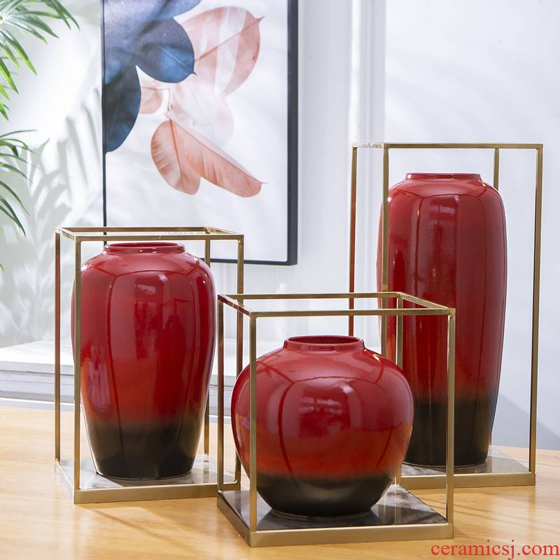 New Chinese style ceramic vase red light much creative copper furnishing articles sitting room dry flower, dried flower, flower implement home decoration