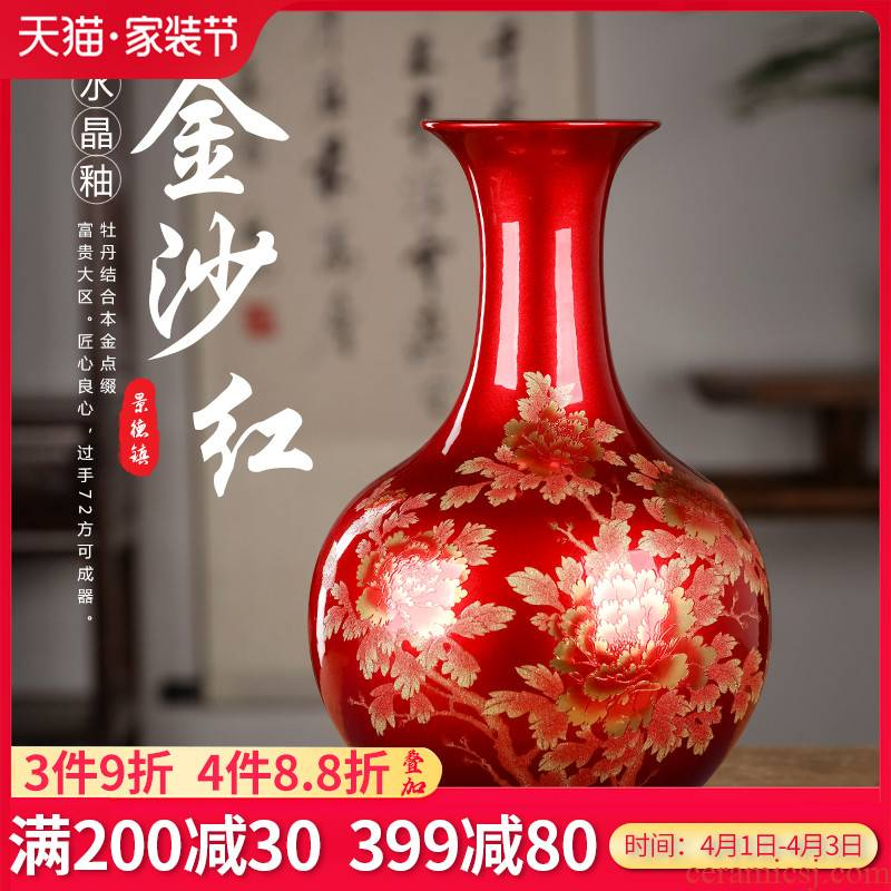 Jingdezhen porcelain ceramic vase sitting room adornment rich ancient frame of Chinese style household furnishing articles crystal glaze porcelain arts and crafts