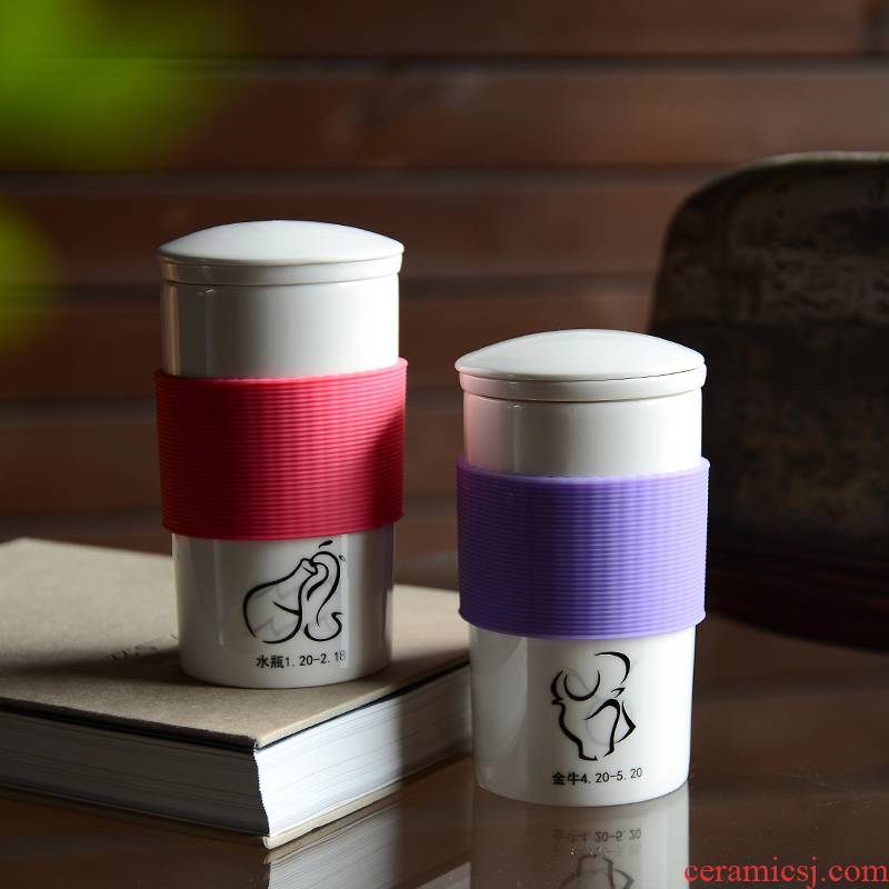The zodiac mass Chinese style of ceramic cup custom filter new creative students ultimately responds a cup of sweet cup