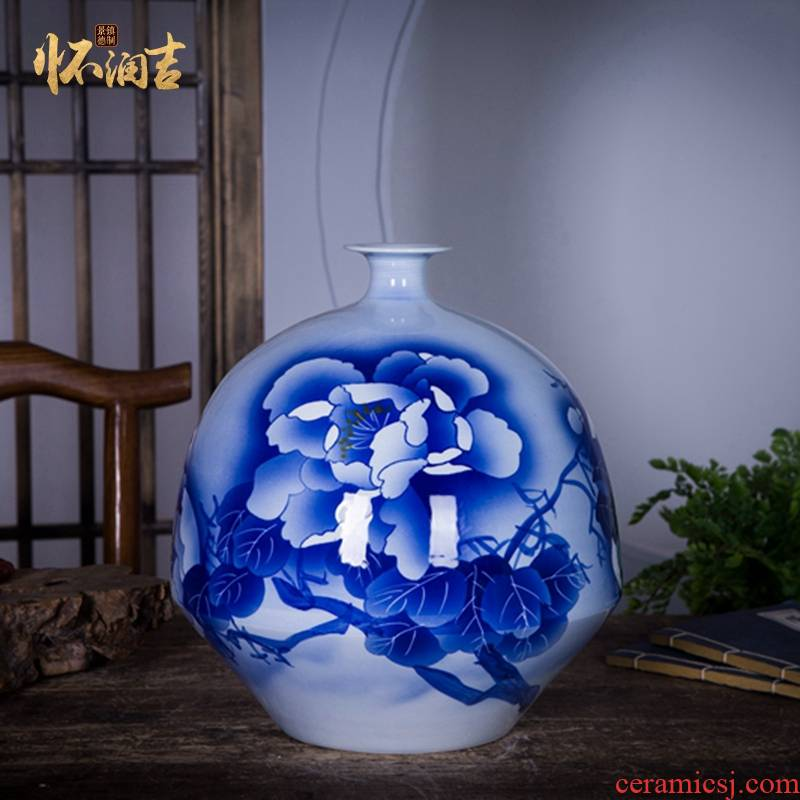 Jingdezhen ceramics name ng mun - hon hand made blue and white porcelain vase peony decorated handicraft furnishing articles