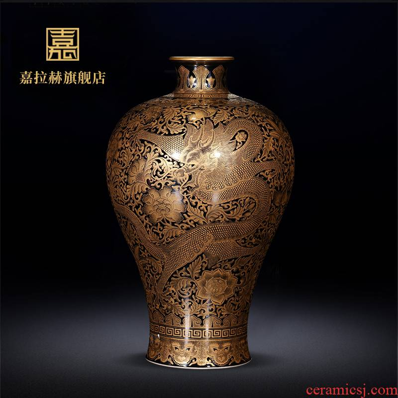 Master YangShiQi hand - made ji jia lage jingdezhen ceramics glaze blue see colour carved heart bottles of antique vase