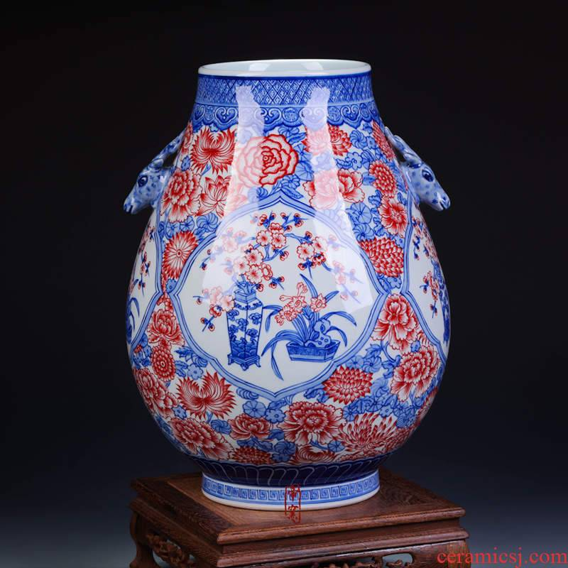 Antique hand - made youligong f barrels of blue and white porcelain vase statute of jingdezhen ceramics furnishing articles home decoration