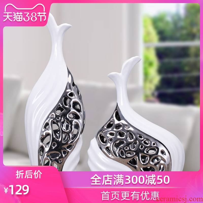 Ceramic vase furnishing articles European household decoration living room TV ark adornment silver hollow out the vase