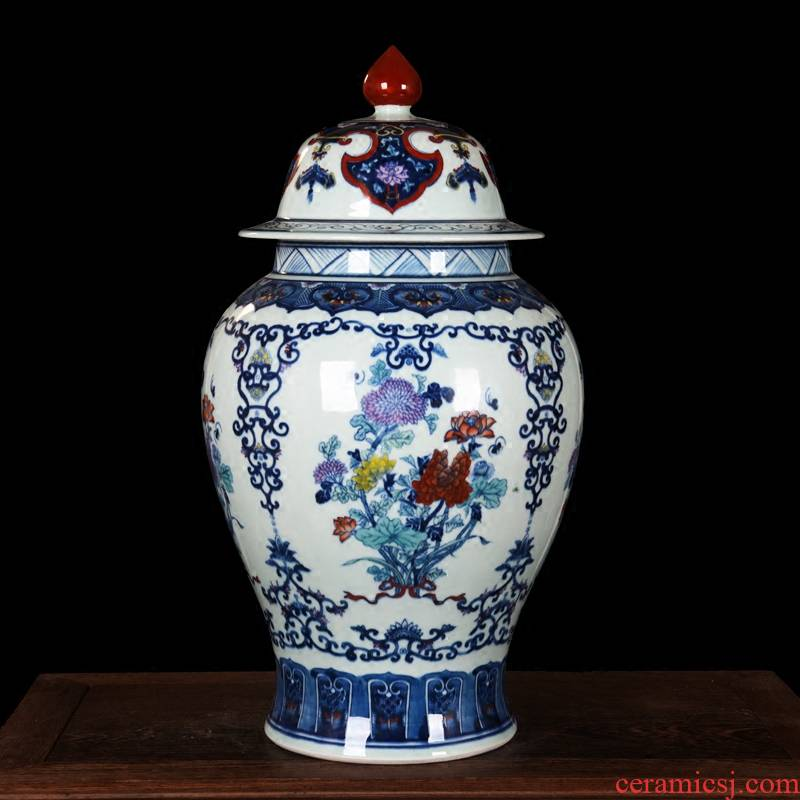 Jingdezhen ceramics general high - end antique hand - made porcelain vase home decoration craft furnishing articles in the living room