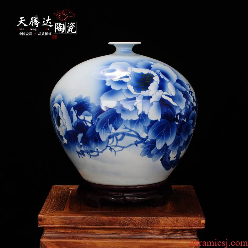 Jingdezhen ceramic vase hand - made pomegranate bottles of wine sitting room adornment is placed household decoration decoration