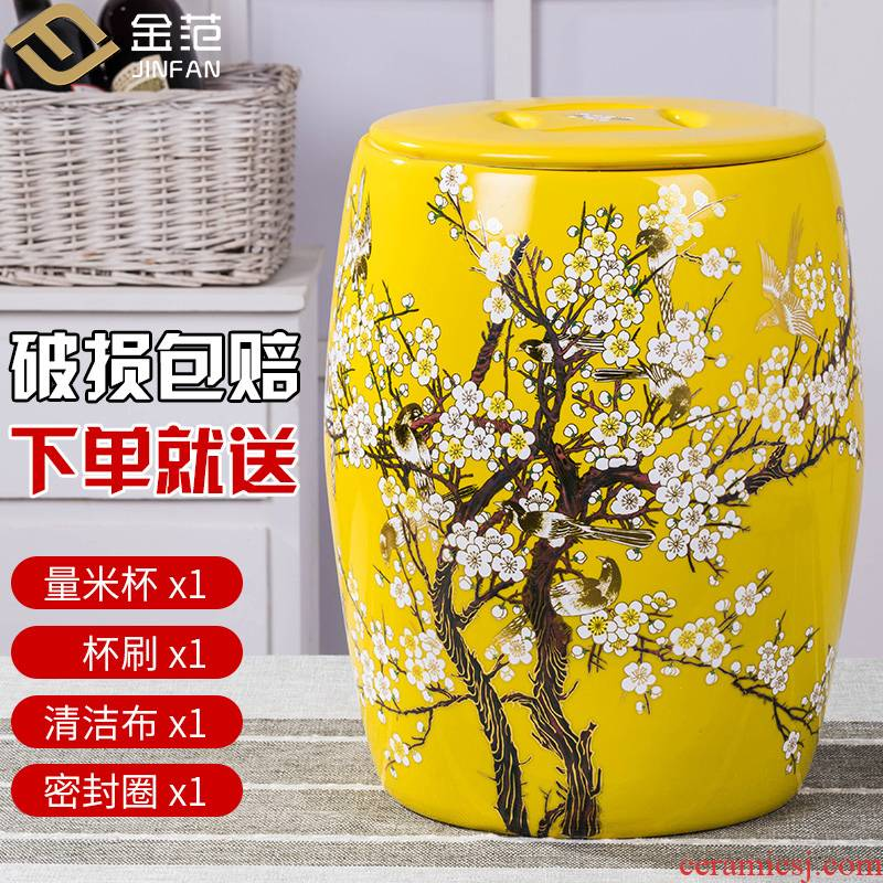 Barrel jingdezhen ceramics with cover feng shui home 20 jins 50 kg to moistureproof insect - resistant flour rice storage box ricer box