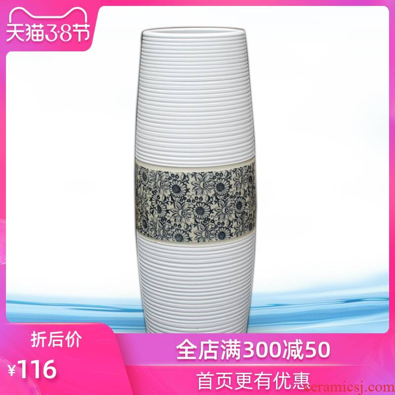 Jingdezhen landing big white vase fashionable fashionable home lucky bamboo furniture furnishing articles sitting room adornment