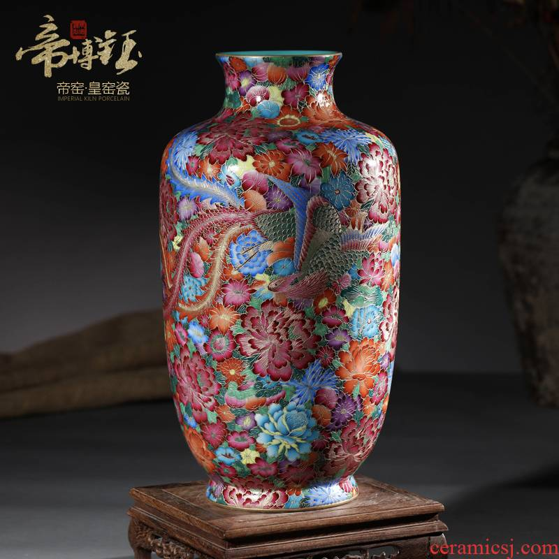 Jingdezhen ceramic antique hand - made colored enamel longfeng wanna wear vase furnishing articles sitting room decoration home decoration process