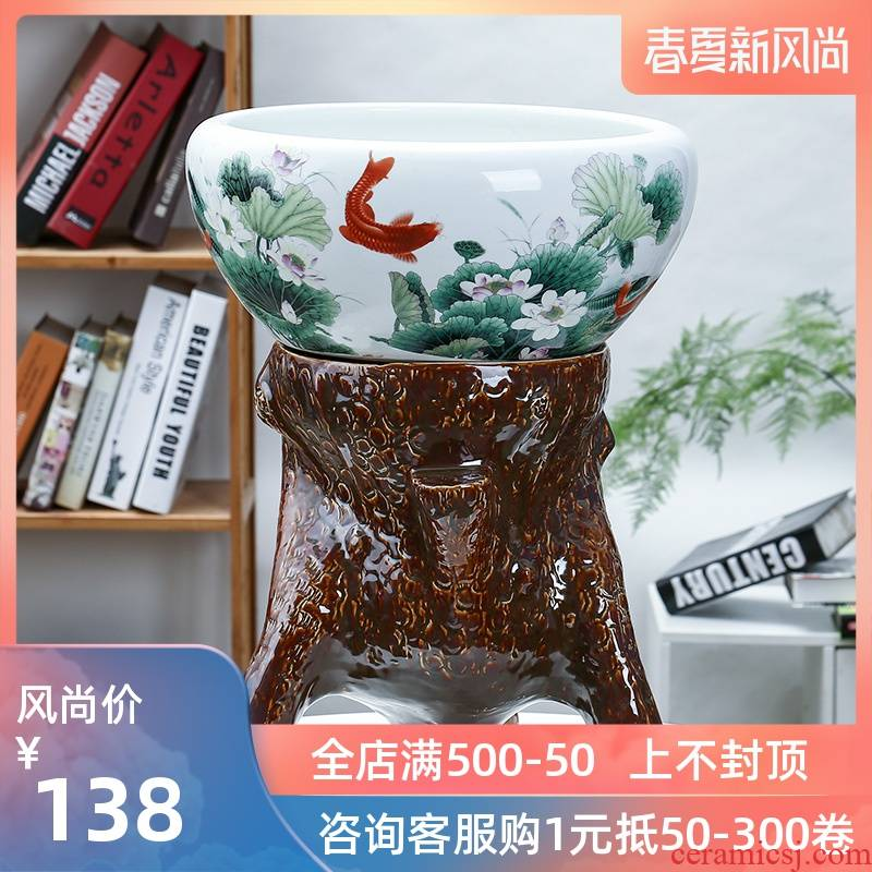 Jingdezhen aquariums small sitting room feng shui plutus pillar landing turtle goldfish pond lily bowl lotus