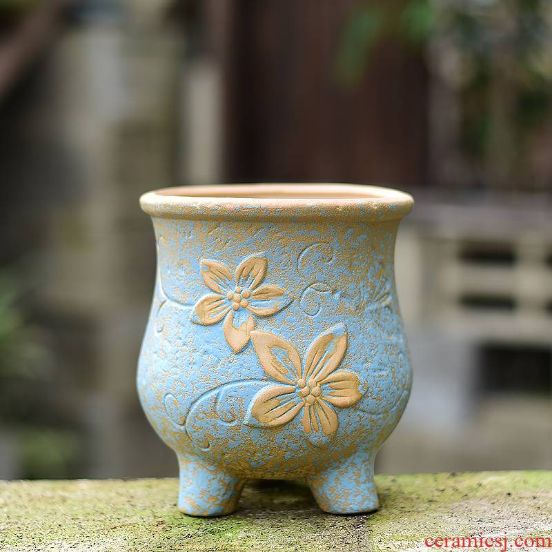 Meaty plant POTS ceramic creative household a fleshy character large clearance coarse pottery clay basin of large diameter