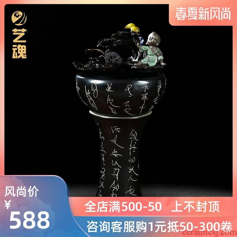 Jingdezhen ceramic creative furnishing articles with small filter tank water pump oxygen atomization triad furnishing articles